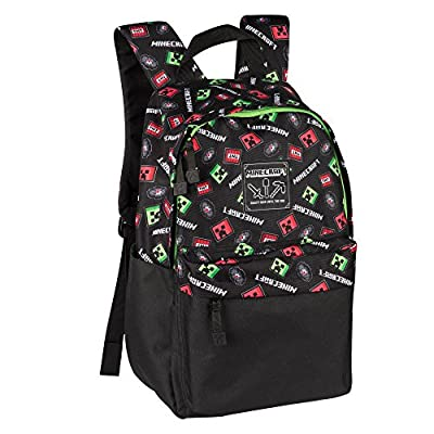 "JINX Minecraft 16"" Scatter Creeper Kids Backpack for School, Camping, Travel, Outdoors & Fun (Black, N/A)"