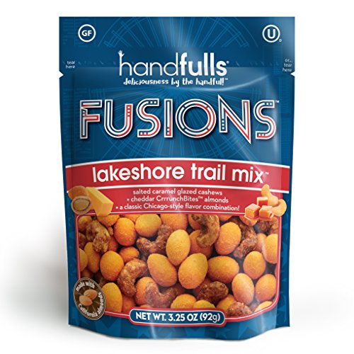 Fusions Lakeshore Mix: Classic Chicago Style Trail Mix by Handfulls. Gourmet popcorn taste that includes salted caramel cashews and cheddar almonds – gluten free – 3.25 oz share bags (3-count) For Sale