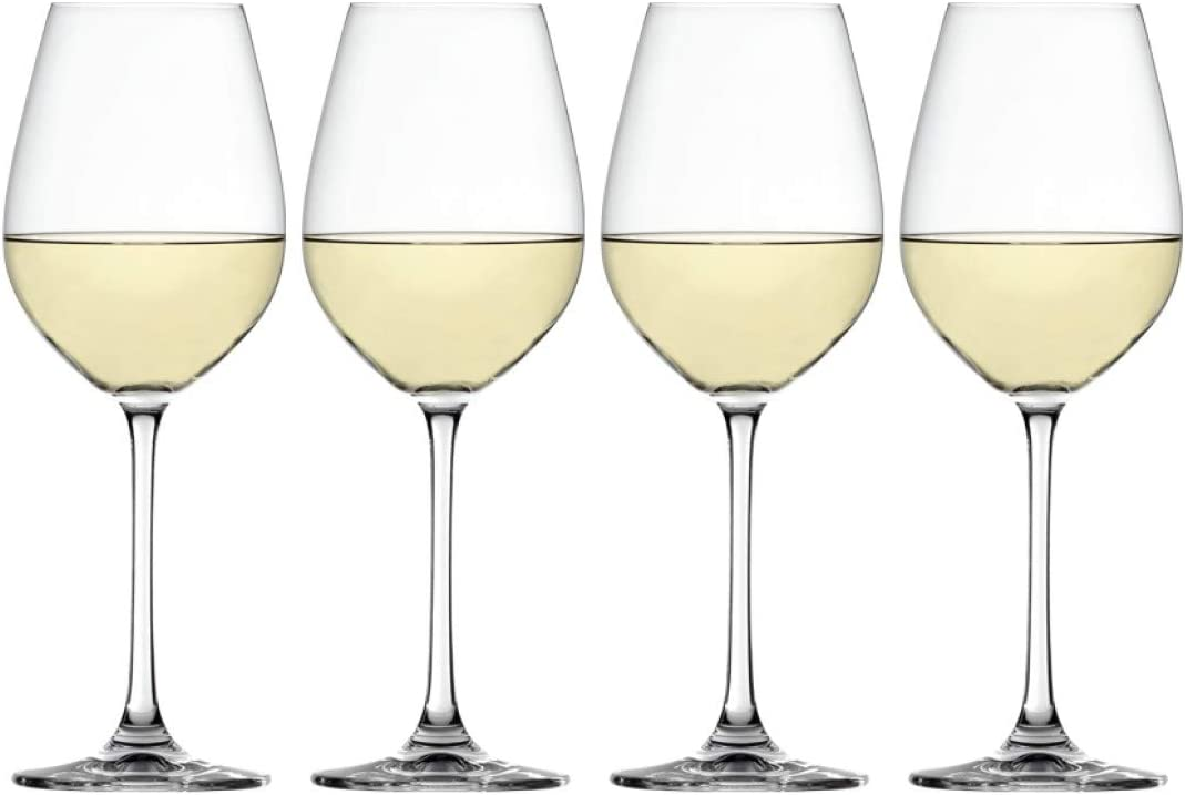 Spiegelau Salute White Wine Glasses, Set of 4, European-Made No-Lead Crystal, Classic Stemmed, Dishwasher Safe, Professional Quality White Wine Glass Gift Set, 16.4 oz