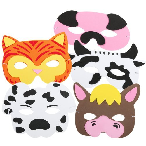 Farm Animal Face Masks - 12 pc Cow Farm Animal Costume