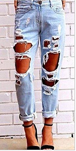 Donna Lunghi Strappato Sottili Matita Denim Jeans Pantaloni Leggings Chiaro Stretch Azzurro ar0ZwqrOWC
