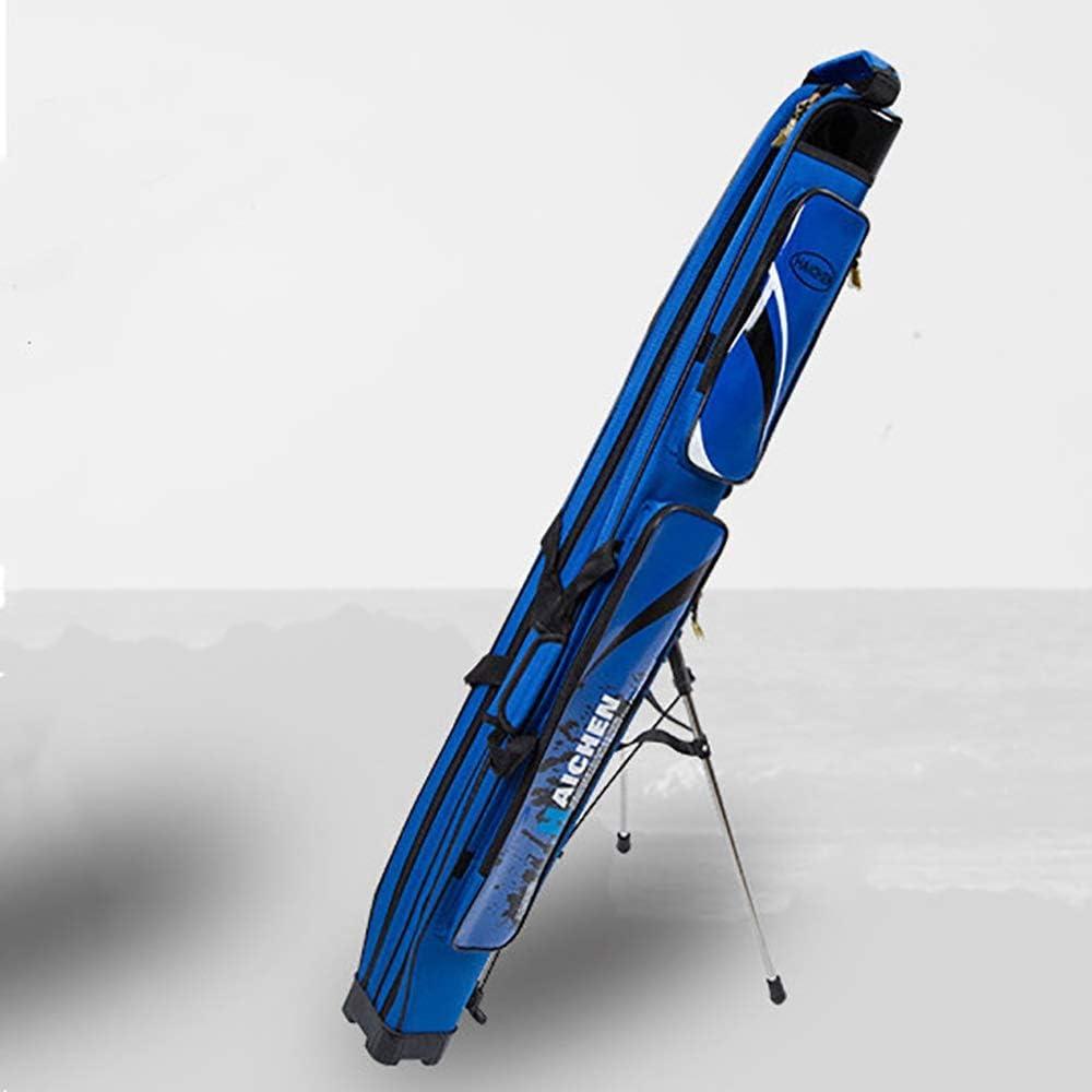釣り竿バッグ 2ポータブル釣りロッドバッグ大容量釣りポールパックは、収納袋屋外防水ジッパーのデザインフィッシングツールバッグタックル 屋外釣り道具収納袋 (Color : 青, Size : 126X11X14CM) 青 126X11X14CM