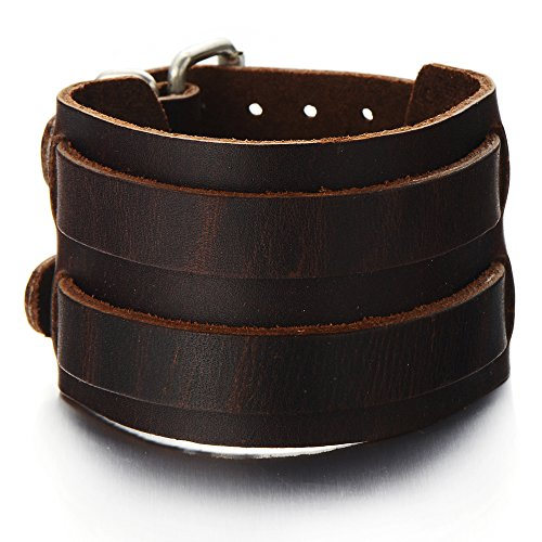 COOLSTEELANDBEYOND Wide Mens Leather Bracelet Genuine Brown Leather Bangle with Two Buckle Clasps