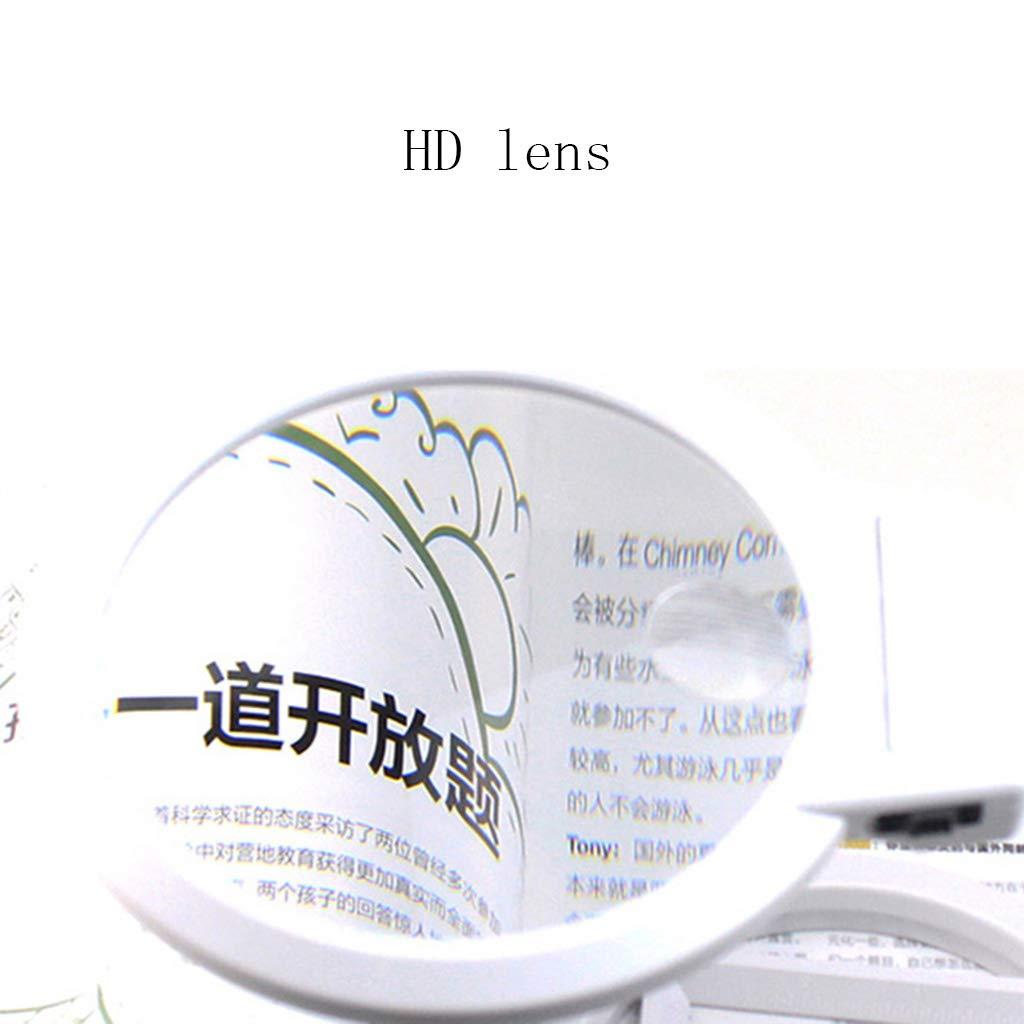 YONGMEI La Lupa Plegable de Mano de de de Escritorio con Luces LED se Puede conectar a la Fuente de alimentación Lectura Apreciación Mantenimiento (Color : Blanco) 6b4408