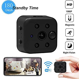 KAPOSEV Wireless Mini Spy Camera,Working Standby Up to 180 Days,1080P WiFi Small Hidden Camera with Magnet,PIR Motion Detection Alert,Remote Monitoring and Loop Recording Via Smartphone App