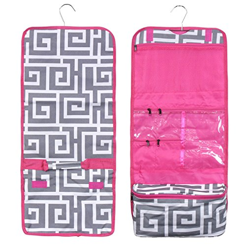 Zodaca Travel Hanging Cosmetic Toiletry Organizer Carry Bag, Greek Key with Pink Trim