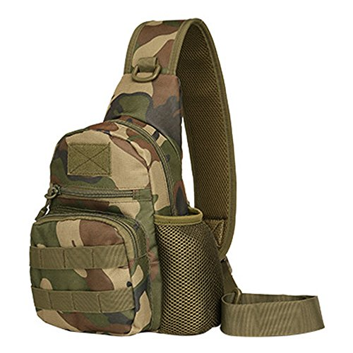 Casual Sling Chest Pack Bag Crossbody With Kettle Set For Ipad Sports Outdoor Molle Hunting Riding Trekking (Jungle camouflage) (William Joseph Fly Vest)