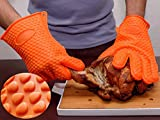 1 Double Thicken BBQ Grilling Silicone Gloves,Heat Resistant Oven Mitts(Orange)