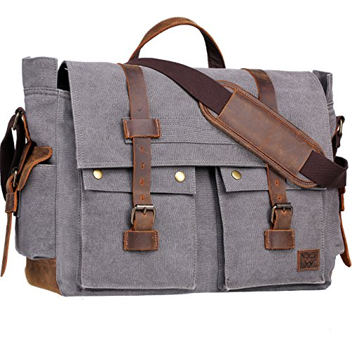 Wowbox 17.3 Inch Men's Messenger Bag Vintage Canvas Leather Satchel Laptop Bags Bookbag Working Bag for Men and Women (Grey)