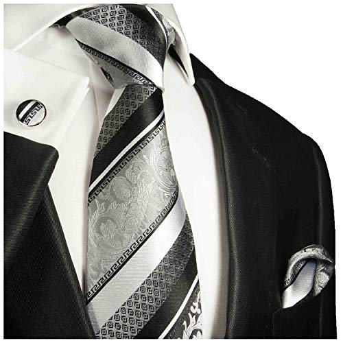 Silver and Black Paul Malone Silk Necktie, Pocket Square and Cufflinks Set
