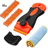 LIVEHITOP Scraper Tool Set with 30 PC Blades 1 PC Rag for Cleaning Label Glue Sticker Paint on Glass, Ceramic Hob, Window, Steel, Car, Mini Razor Scrapers Remover