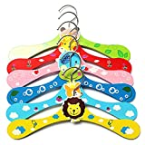 KINGSO 6pcs Baby Child Coat Clothes Cartoon Animals Wooden Hook Hanger Rack Assorted Color