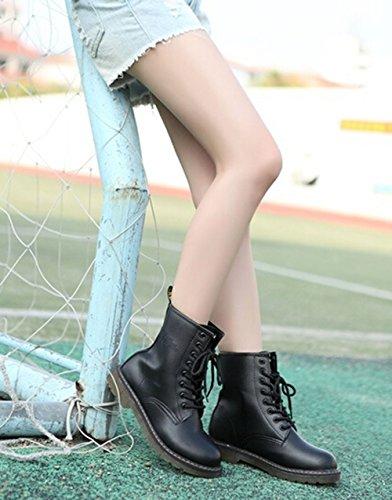 Fashion Frauen schnüren sich oben Kurze Stiefel Kampf Punk Ankle Boots Martin Ballerinas schwarz