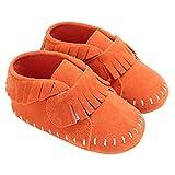 LINKEY Baby Girls Suede Tassel Moccasins Loafer Flats Newborn Soft Sole Crib Shoes Orange Size S