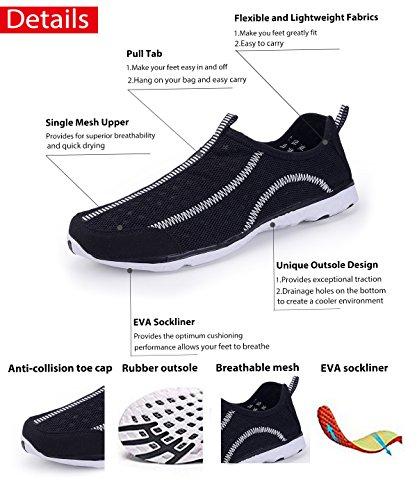 Wasser Schuhe für Frauen schnell trocknende Aqua Schuhe Strand Pool Schuhe Sportliche Sport Wanderschuhe Mesh Slip On E.schwarz