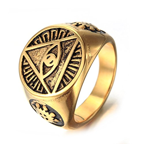 - Men's Stainless Steel Simple Egyptian Eye God Eye Silver Tone (Gold, 7)