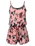 Awesome21 Women's Sleeveless Floral Print Knit Overlay Romper Jumpsuit