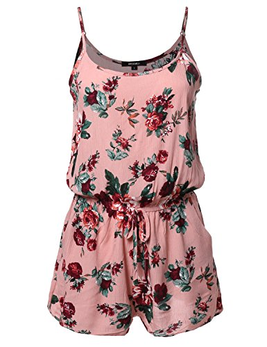 Awesome21-Womens-Sleeveless-Floral-Print-Knit-Overlay-Romper-Jumpsuit