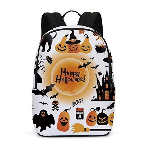 Halloween Decorations Durable Backpack,All Hallows Day Objects Haunted