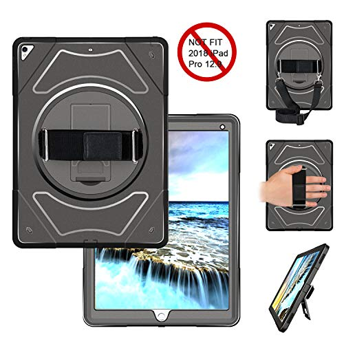 Miesherk iPad Pro 2nd Generation 12.9 Case, iPad Pro 12.9 Cover with Adjustable Hand Strap+Shoulder Strap+360 Degree Stand Compatible with iPad Pro 12.9 inch 2017 2017/2015 (A1670/A1671) Black