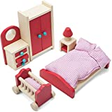 Imagination Generation Wooden Wonders Cozy Family Master Bedroom Accessories Playset, Colorful Dollhouse Furniture for 4-inch Dolls