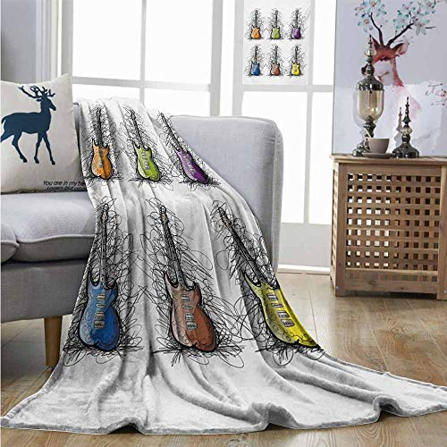 Degrees of Comfort Weighted Blanket Music Sketchy Lines Colored Design Guitar Insrument Collage Teens Rocker Song Lovers Image Lightweight Thermal Blankets W51 xL60 Multicolor