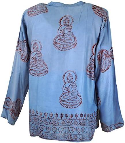 GURU-SHOP, Camisa Hare Krishna Mantra, Camisa Goa Hippie, Azul Claro, Sintético, Tamaño:L, Camisas de Hombre: Amazon.es: Ropa y accesorios