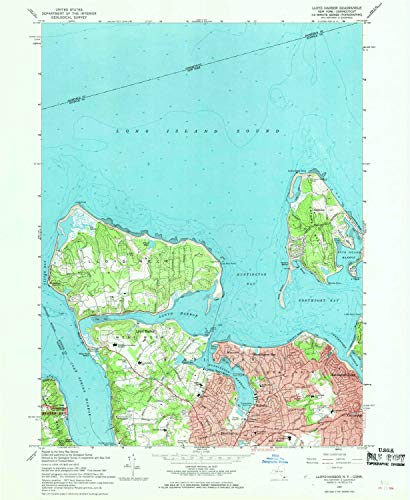 YellowMaps Lloyd Harbor NY topo map, 1:24000 Scale, 7.5 X 7.5 Minute, Historical, 1967, Updated 1968, 26.9 x 22 in - Polypropylene