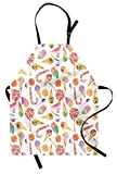 ice cream apron - Ambesonne Colorful Apron, Ice Cream Candy Cakes Lollipop Clementine Fruits Cute Birthday Celebration Pattern, Unisex Kitchen Bib Apron with Adjustable Neck for Cooking Baking Gardening, Multicolor