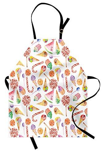 Ambesonne Colorful Apron, Ice Cream Candy Cakes Lollipop Cle