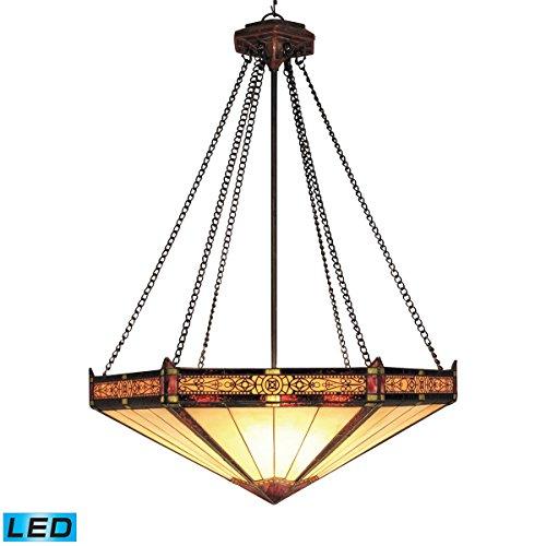 ELK 622-AB-LED, Filigree Large Blown Glass Bowl Pendant, 3 Light LED, Aged Bronze