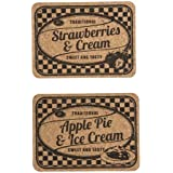 Set of 2 Cork Table Mats - Strawberries & Cream/Apple Pie & Ice Cream by T&G Woodware