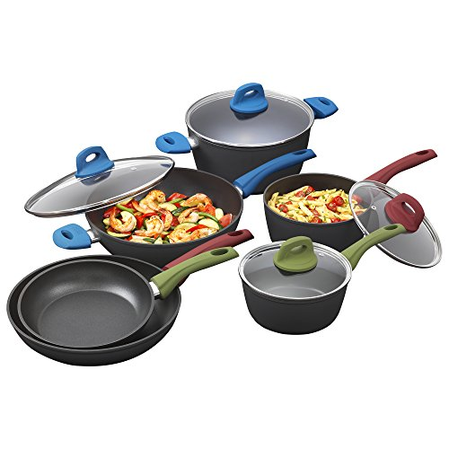 Bialetti 7448 Simply Italian Nonstick 10-Piece Cookware Set, Multicolored