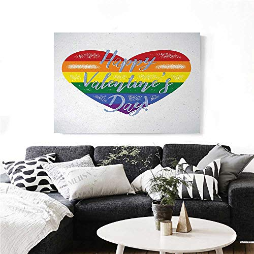 homehot Vintage Rainbow Modern Canvas Painting Wall Art Happy Valentine`s Day Quote on Distressed Colorful Heart Gay Couples LGBTI Art Stickers 24