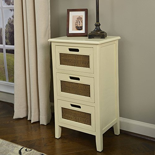 Better Homes and Gardens Wicker Accent 3-Drawer Table, White