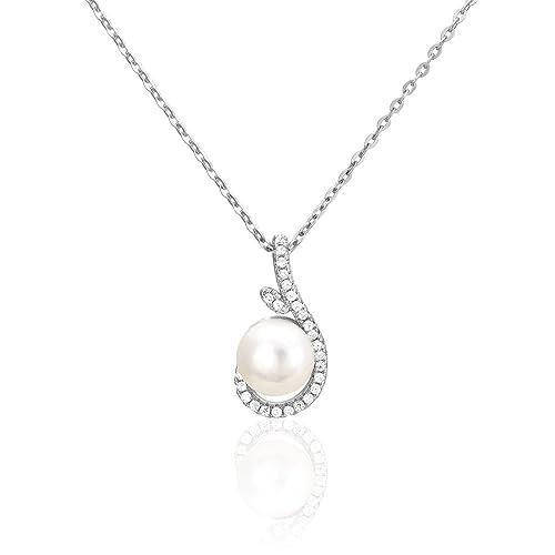 collier argent avec perle de culture