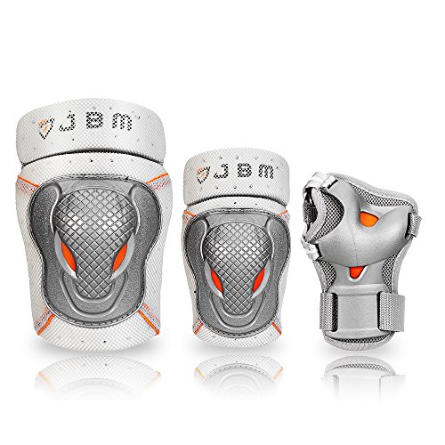 Roller Girl Outfit - JBM BMX Bike Knee Pads and Elbow Pads with Wrist Guards Protective Gear Set for Biking, Riding, Cycling and Multi Sports Safety Protection: Scooter, Skateboard, Bicycle, Rollerblades (Silver, Youth)
