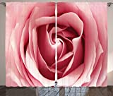 Roses Decorations Collection Rose Botanical Bloom Close Up Picture for Valentines Day Holidays Happy Occasions Living Room Bedroom Curtain 2 Panels Set Pink