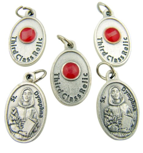 lot-of-5-patron-saint-st-dymphna-3-4-inch-silver-tone-3rd-class-relic-medal