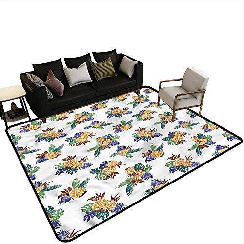 Contemporary Leaf Silhouette - Pineapple,Floor Mats for Living Room 80
