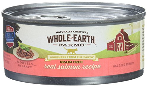 Whole Earth Farms 295256 24 Count Grain Free Shredded Salmon Recipe Canned Cat Food, One Size