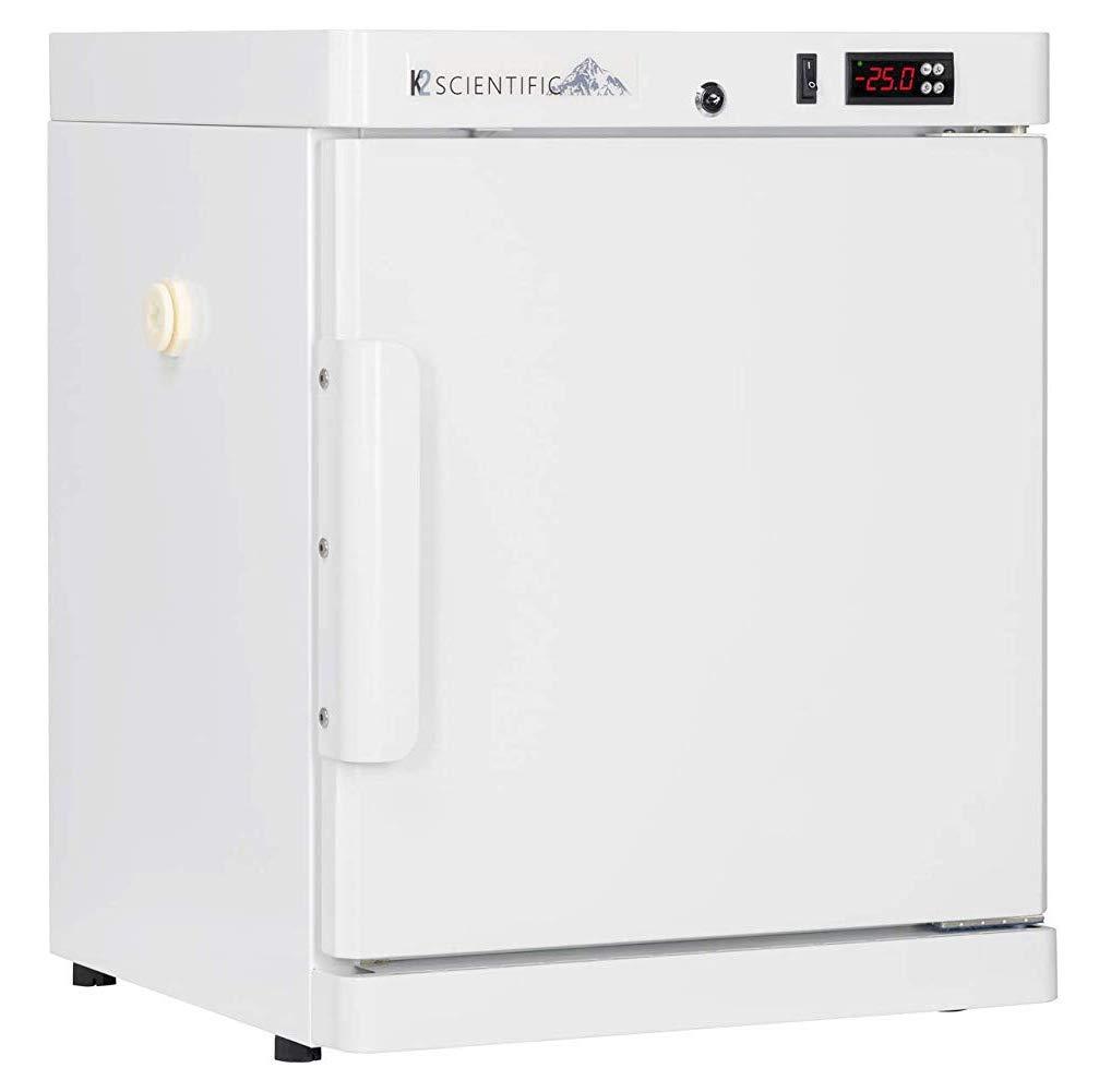 K2 Scientific - Benchtop Style Solid Door Refrigerator for Pharmaceuticals & Vaccines - Medical-Grade Storage - 2 Shelves - 2.5 Cu. Ft.