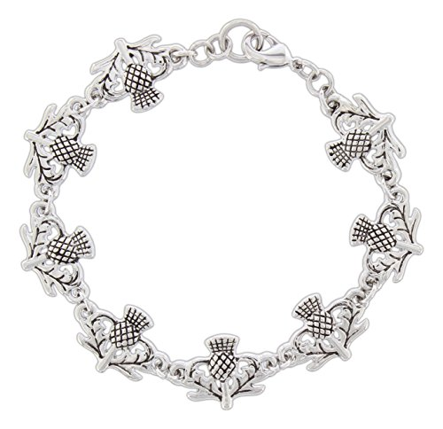 Quantum Rhodium-Plated Scottish Thistle Bracelet with Lobster Claw Clasp (Spirit Strand Bracelets)