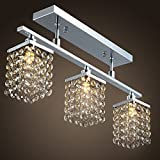 Lightess Crystal Flush Mount Modern Ceiling Light Fixture Hanging Chandelier 3 lights
