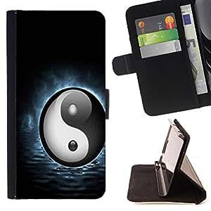 King Art - Premium-PU-Leder-Prima caja de la PU billetera de cuero con ranuras para tarjetas, efectivo Compartimiento desmontable y correa para la mu?eca FOR HTC One M9- Eight trigrams of Yin and Yang