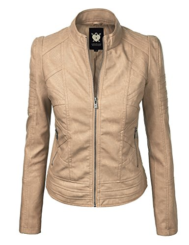 Lock and Love LL WJC746A Womens Vegan Leather Motorcycle Jacket M ()