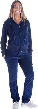 Mavis Garments Womens 2 Piece Sweatsuits Tracksuits Velvet Outfits Hoodie & Pant