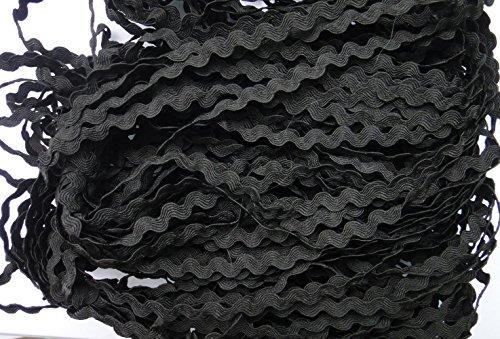 Lyracces Wholesale Lots 50yards Mini Woven Zigzag Rick Rack Ribbon Ric Rac Trims Scrapbooking Dressmaking (5mm, (Black Ric Rac Ribbon)