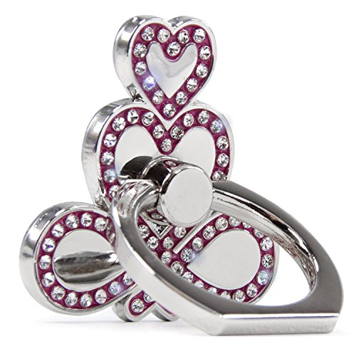 Kroo Silver Metal Bling Diamond Crystal Finger Rotated Ring Stand [Hold On To Love Heart] for Cell Phone/Smartphone/iPhone/iPad