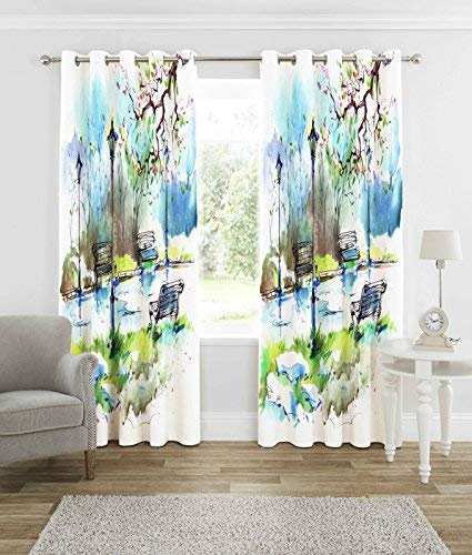 b7 CREATIONS� Polyester Knitted 3D Digital Print Curtain for Long Door (White, 4x9 Feet)